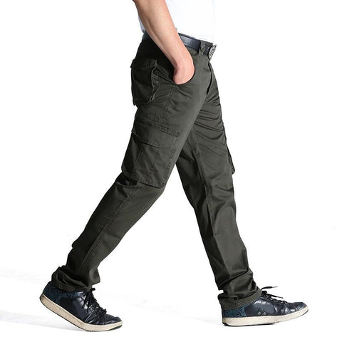 Summer Autumn Casual Men Classic Cargo Pants 100% Cotton Solid Pocket Long Male Trousers 2 Colors Style Size 31-44