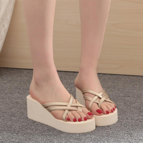 Summer Ultra High Heels Beach Slippers Fashion Wedges Flip Flops Antiskid Women Shoes