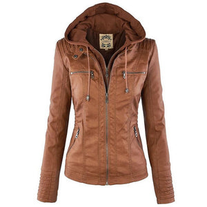 Winter Faux Leather Jacket Women's Hat Removable Coats Waterproof Windproof Jackets - DealsBlast.com