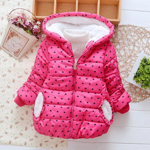 Girl's Heart Print Hooded Winter Coat