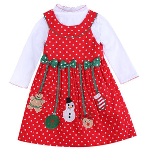 Long Sleeve Christmas  Dress children's 2pcs Clothing Sets - DealsBlast.com