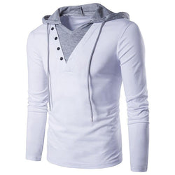 New Mens T-shirt Fashion Fake Two Pieces Men Hooded Sling Tops Tees Long Sleeve V neck Slim Fit Casual Male T shirts - DealsBlast.com