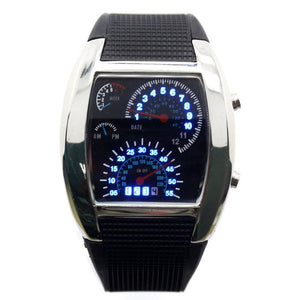 LED Luminous Men Blue & White Digital Speedometer Watch