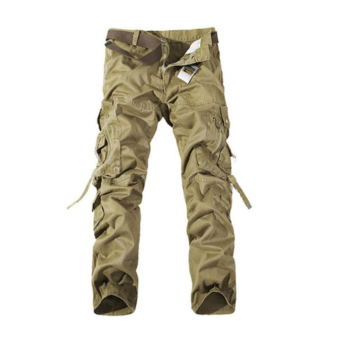 Fashion Mens Solid Work Cargo Military Pants Loose Casual Combat Camouflage Pockets Trousers With Belt  32-42