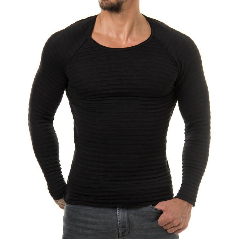 Mens Fashion Muscle Pullover Slim Fit Knit Tee T-Shirt Crew Neck Top Gyms Long Sleeve Male Shirt S-XL Men Sportwear