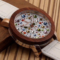 Watch Women Wooden Watches Genuine White Leather Strap Wristwatch relogio feminino