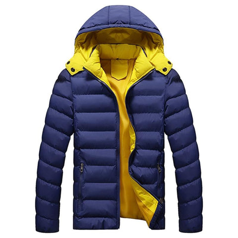 Men Warm Winter Fashion Jackets Casual Hooded Solid Color Parka Dawn Jacket Men Hat Detachable Outwear