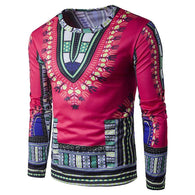Mens Traditional Thailand Style African Print Long Sleeve T-Shirt Blouse Tops Mens Clothes - Deals Blast