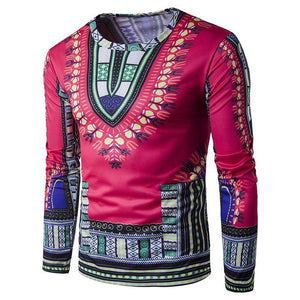Mens Traditional Thailand Style African Print Long Sleeve T-Shirt Blouse Tops Mens Clothes - DealsBlast.com
