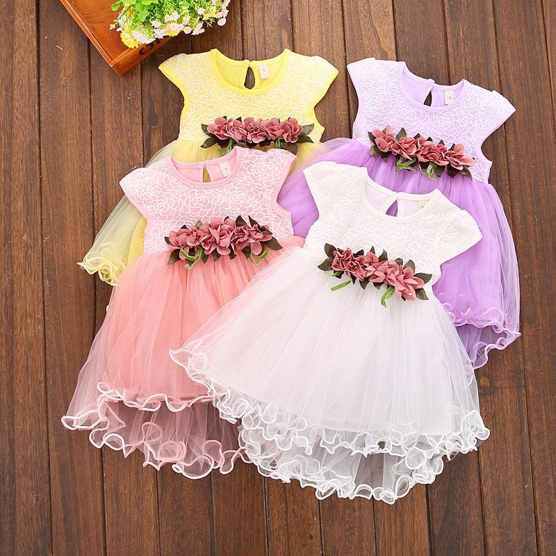 Multi-style Super Cute Baby Girls Summer Floral Dress Princess Party Tulle Flower Dresses 0-3Y Clothing - DealsBlast.com