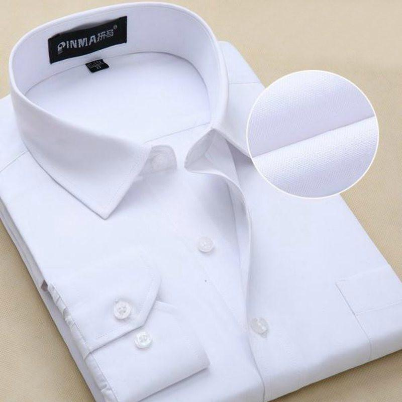 New Design Twill Cotton Pure Color White Business Formal Dress Shirts Men Fashion Long Sleeve Social Shirt Big Size 5XL 6XL