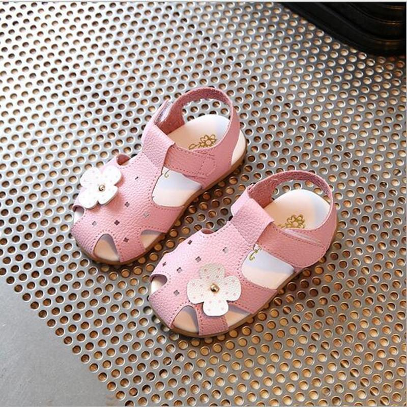 Summer Children Sandals for Girls PU Leather Bowtie Princess Shoes Kids Beach Sandals Baby Toddler Shoes White