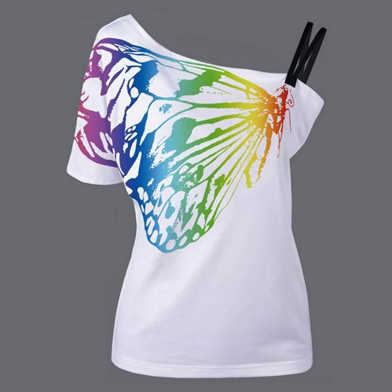 0ce51f60ef5 ... Summer Women T-shirts One shoulder Butterfly Printed Tops Plus Size -  DealsBlast.com ...