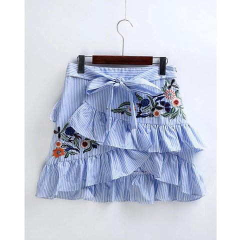 New Women Vintage Ruffles Decoration Embroidery Striped Skirt Sexy Slim Short  Pencil Skirts Bow Tied Mini Skirt