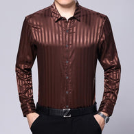 Mens Silk Casual Male Striped Long Sleeve Shirt - DealsBlast.com
