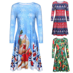 A-Line Print Size Round Neck  Long Christmas Dresses Clothing 3/4 Sleeve Women Dress - DealsBlast.com