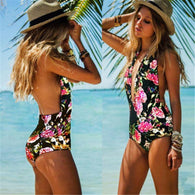 Sexy Women's One Piece Floral Backless High Waist Swimsuit Swimwear Bathing Monokini Female Beachwear plus size bodysuit - DealsBlast.com