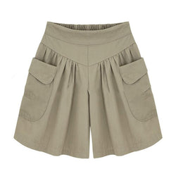Summer Plus size Short women XL- 4XL 5XL Wide Leg Female Shorts Casual Loose Ladies Khaki High waist - DealsBlast.com