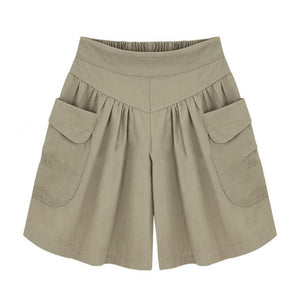 Summer Plus size Short women XL- 4XL 5XL Wide Leg Female Shorts Casual Loose Ladies Khaki High waist