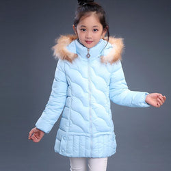 Girls' Solid Color Snow Coat With Fur Trim - DealsBlast.com