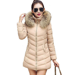 Fur collar women winter warm coat hooded long parka outerwear jacket - DealsBlast.com