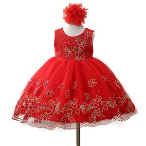 Flower embroidery princess dress Girl's birthday party dress children Christmas dress clothes - DealsBlast.com