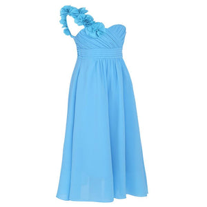 One-shoulder Flower Girls Princess Gown Dress - DealsBlast.com