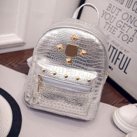 new college wind schoolbag washed leather backpack Women Gold Velvet Small Rucksack Backpack School Book Shoulder Bag