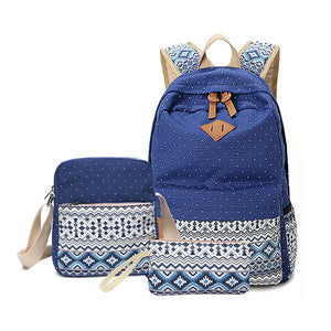 Vintage school bags for girls kids bag canvas backpack women bagpack children backpacks dot shoulder bags blue pencil case