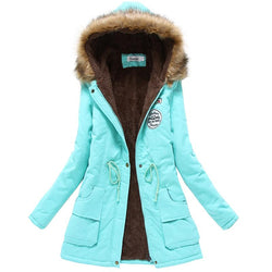 Winter Women Jacket Outerwear Slim Winter Hooded Coat - DealsBlast.com