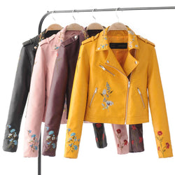 Winter Women PU Faux Leather Jackets Lady Slim Fit Floral Embroidery Zippers - DealsBlast.com