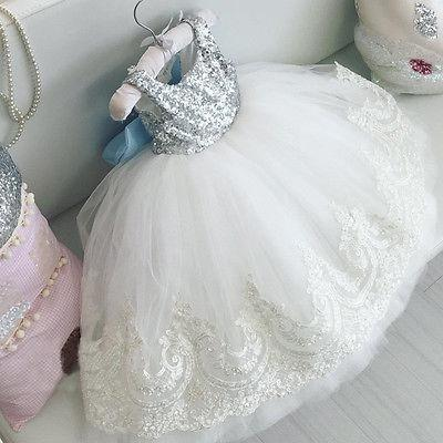 New Xmas Baby Kids Girls Charming Party Gown Formal Dress Sequins Flower Lace Bowknot Dress - DealsBlast.com