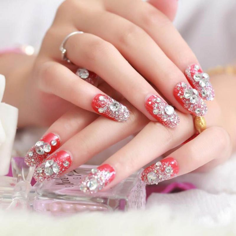Red Rhinestone Fake Nails