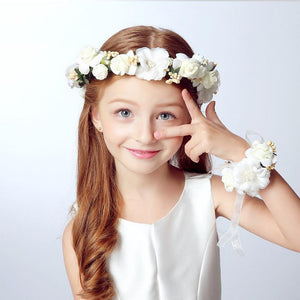 2PCs Fashion Women Ladies Summer Wedding Bride Girl Lace Flowers Crown Garland Party Vacation Headband & Hand Flower Wreath Set - DealsBlast.com