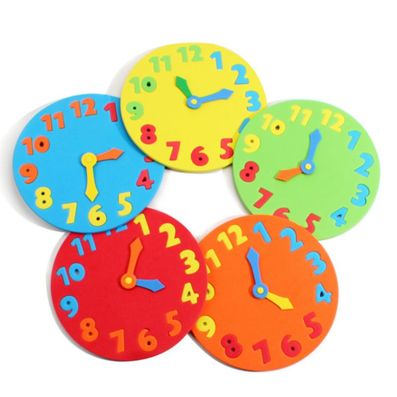 2Pcs/Lot EVA Foam number clock puzzle toys assembled DIY creative educational toys for children baby 1-7 years - DealsBlast.com