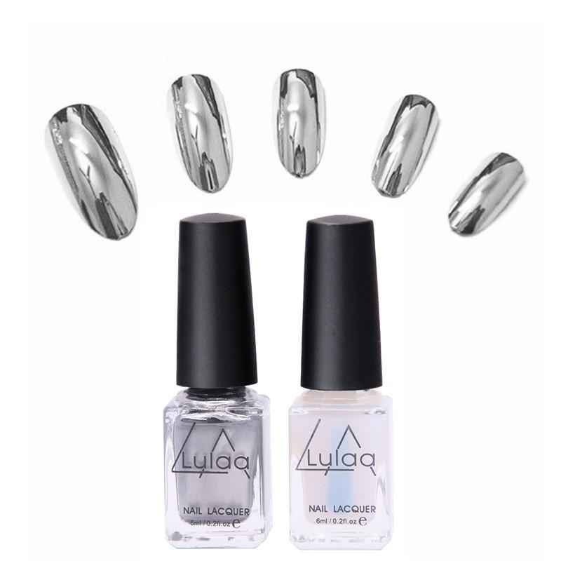 2pcs Metallic Polish Professional Gel Nails Silver Gel Nail Varnishes Metal Glue Gel Top And Base Coat Gel Nail Polish - DealsBlast.com