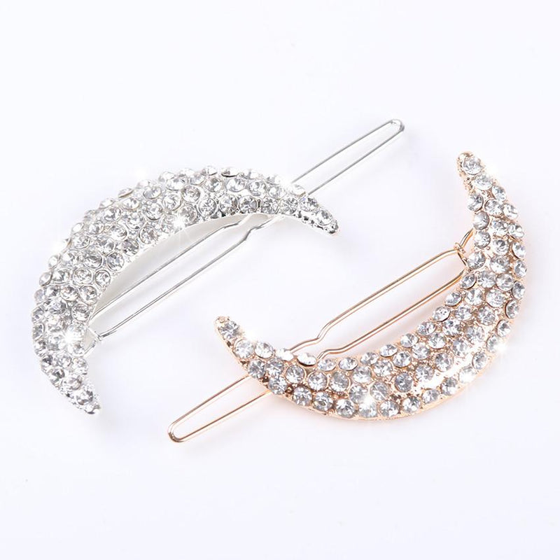 2pcs Newest Crystal Moon Rhinestone Hair Accessories For Women Hair Clips For Girls Headdress Hairpin Clamps - DealsBlast.com