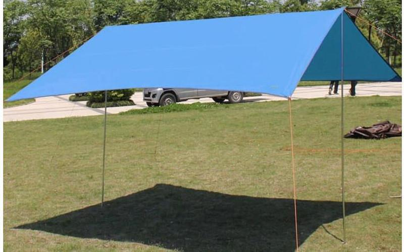 3 * 3m  210T with silver coating anti-UV tent  Multifunction Waterproof  Awning Camouflage Camping Tent  have bag &nails &rope - DealsBlast.com