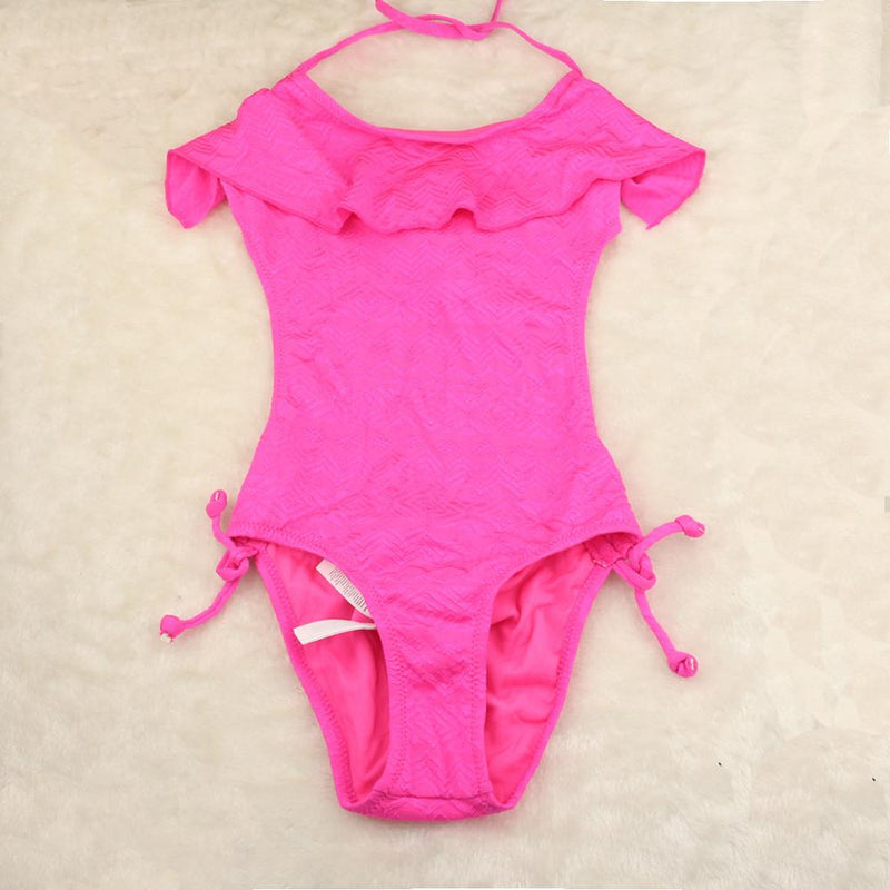 3-8 Years Children Girls One Piece Swimsuit Solid Rose Color Children Girls Summer Beachwear Kids Girls Swimwear - DealsBlast.com