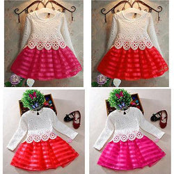 3-8Y Toddler Baby Girls Kids Tutu Crochet Lace Dress Long Sleeve Princess Dress Girls Clothes - DealsBlast.com