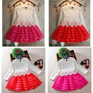 3-8Y Toddler Baby Girls Kids Tutu Crochet Lace Dress Long Sleeve Princess Dress Girls Clothes - Deals Blast
