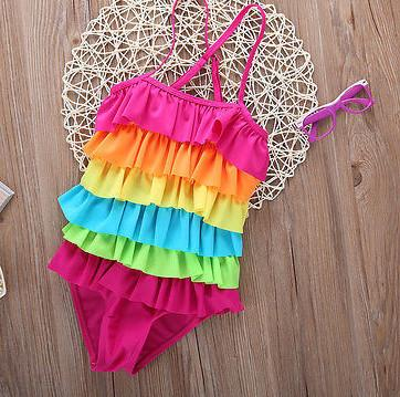 Baby Girls Rainbow One Piece Swimwear Swimsuit Lovely Cute Dress Bikini Swiming Beach Wear bathing suits for girls - DealsBlast.com
