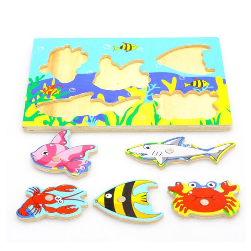 3D Baby Wooden Magnetic Fishing Games Board Jigsaw Puzzles Kids Toys for Children Funny Educational Birthday Gifts - DealsBlast.com