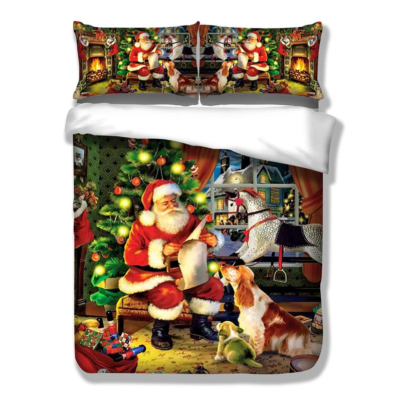 3D Bedding Sets Merry Christmas Santa Claus and Gift 3PCS Duvet Cover Pillow Case - DealsBlast.com