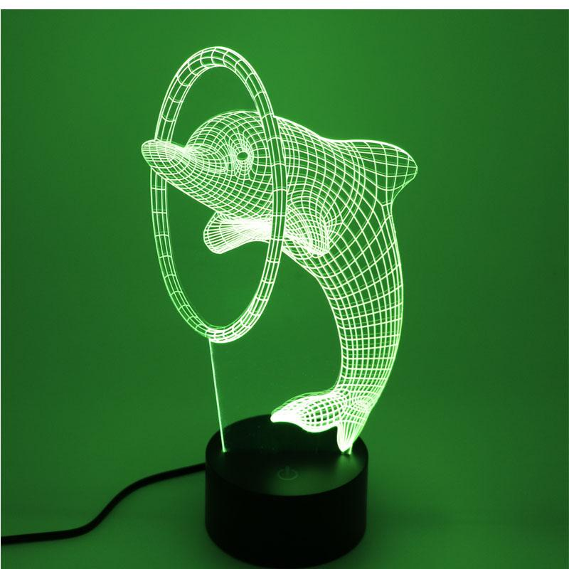 3D LED Dolphin with 7 Colors Night Light Optical Illusion Lamp - DealsBlast.com