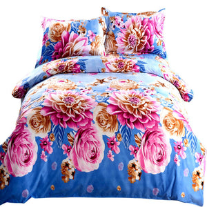 3D Plant Printed Sheets Sets Linens Multicolor Abstract flowers Cotton Bedspread Queen Double Size Quilt Cover Bedding sets - Deals Blast