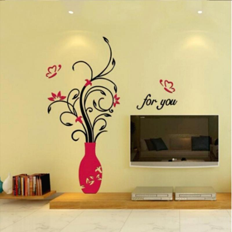 3D wall sticker DIY Vase Flower Tree Crystal Acrylic Wall Stickers - DealsBlast.com