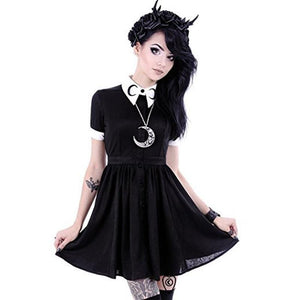 Collar Crescent Print Goth Pleated Mini Dress