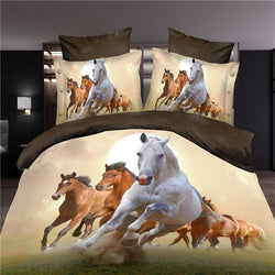 3d horse bedding set duvet/doona cover bed sheet pillow cases 4pcs queen size velvety bedclothes - Deals Blast