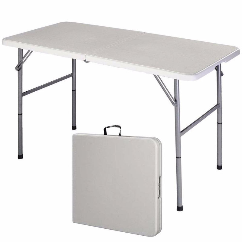 4' Folding Table Portable Indoor Outdoor Picnic Party Dining Camp Tables White Modern Desk Utility Office Computer Desk - DealsBlast.com